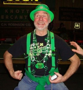 OK...we're not sure who this is, but he appears to be in the St. Patrick's Day spirit at the Great Northern Bar in Whitefish.