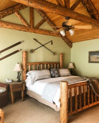 The mountains are covered in snow making these rooms feel ever so cozy-let's just say the complimentary dvd collection has been very popular! #skilodge #lodging #bedandbreakfast #logcabinliving #cabinliving #mountainliving #whitefishmontana #skiandstay #cozyroom #stayin #relax #vacation #weekendgetaway